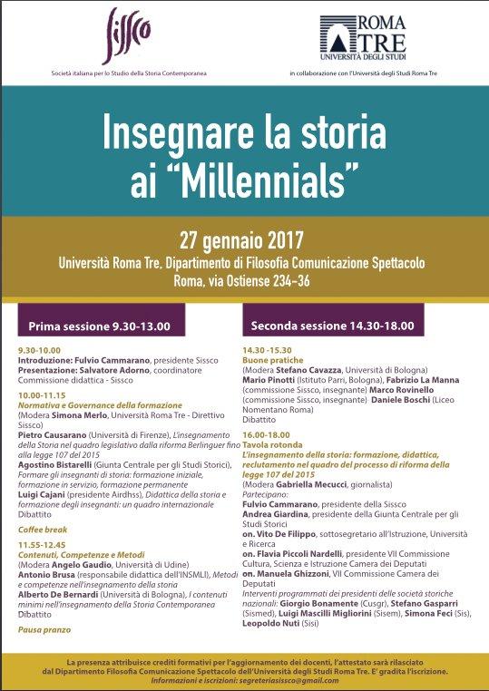 Locandina Sissco - Insegnare la storia ai Millenials